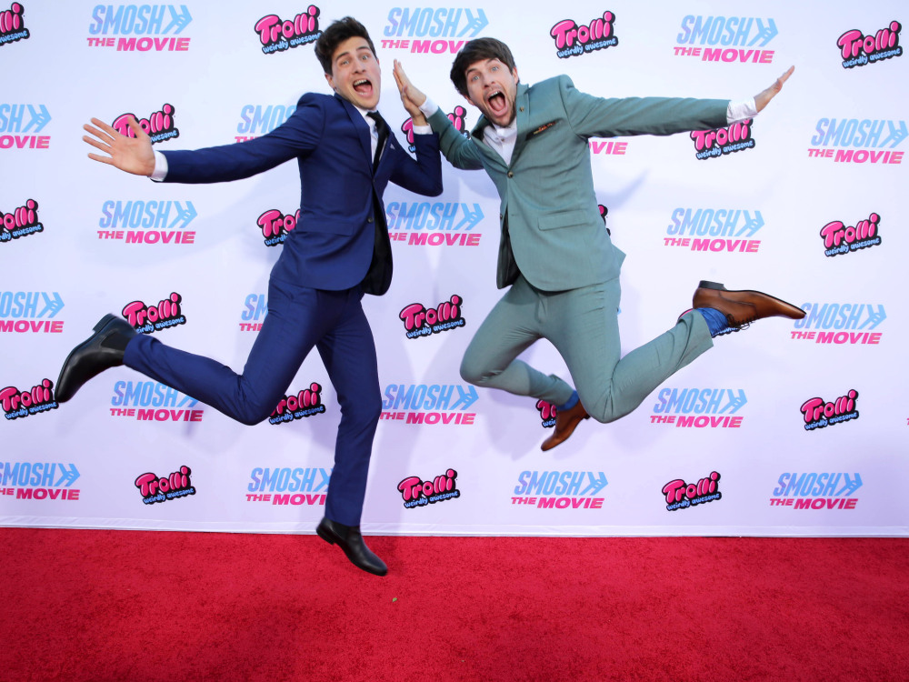 "Anthony Padilla and Ian Hecox seen at the Los Angeles Premiere of AwesomenessTV and Defy Media's ""SMOSH: THE MOVIE"" held at Westwood Village Theatre on Wednesday, July 22, 2015, in Los Angeles. (Photo by Eric Charbonneau/Invision for AwesomenessTV/AP Images)"